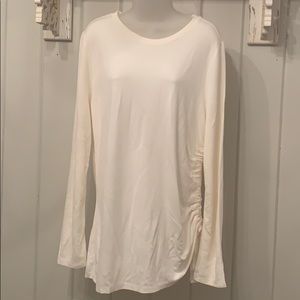 NWT Ann Taylor cream top with side detail